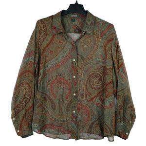 Ralph Lauren paisley sheer silk button up 16W